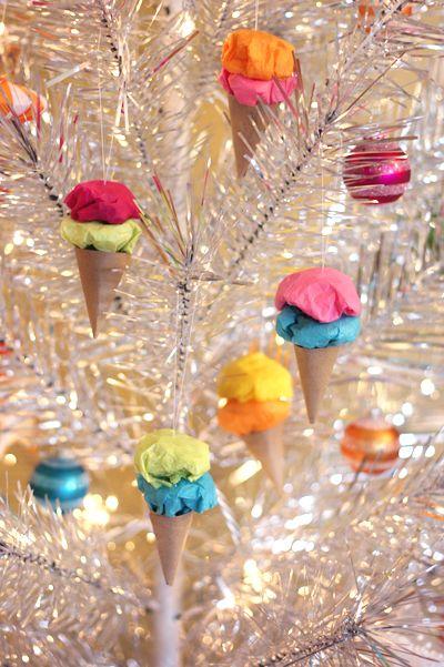 Paper Ice Cream Cone Ornaments!