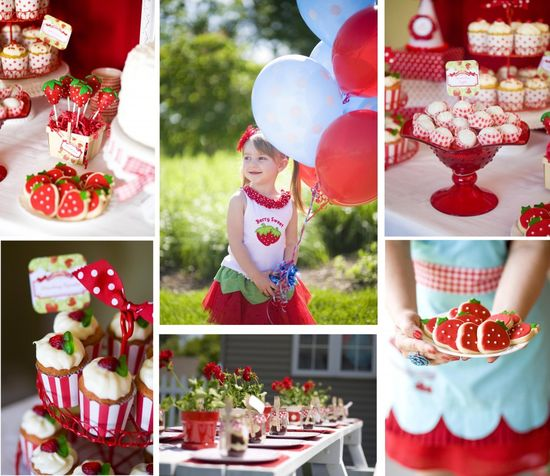 Darling strawberry themed birthday party