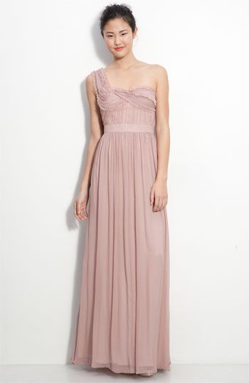 Adrianna Papell Ruched Chiffon One Shoulder Gown available at Nordstrom