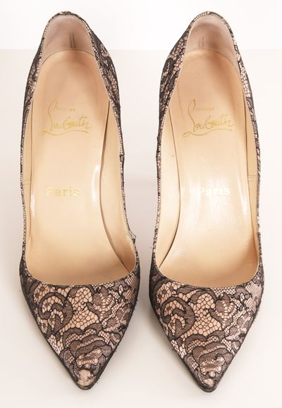 Christian Louboutin pink/black lace pointed pumps