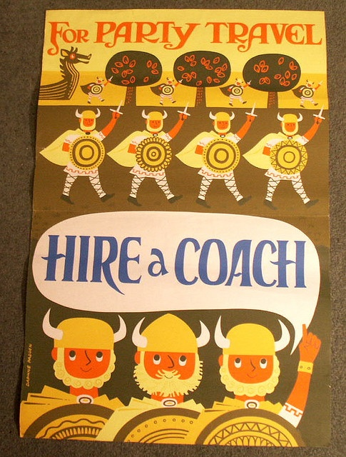 Britsh couch-travel ad poster by Daphne Padden.