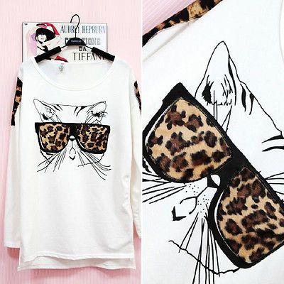 Cute Cat Leopard Shoulder Asymmetry Hem Comfortable Cotton Shirts Tops Blouse