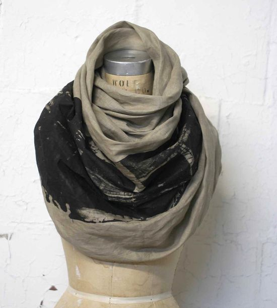 LOVE this linen print scarf. $100 makes this an investment piece; its just so good!