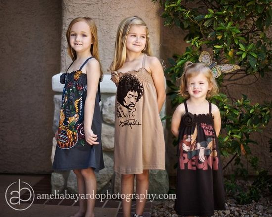 #Upcycled men's t'shirts into little girl dresses