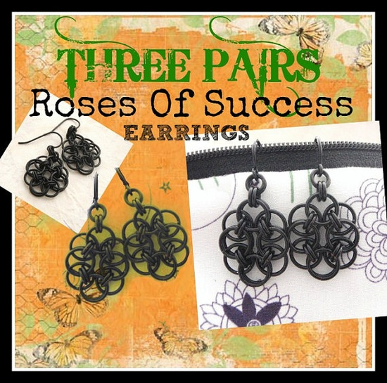 Roses Of Success Earring Kits - 3 Pairs in Your Choice of Colors - Eyecatching Chainmaille. $  30.00, via Etsy.