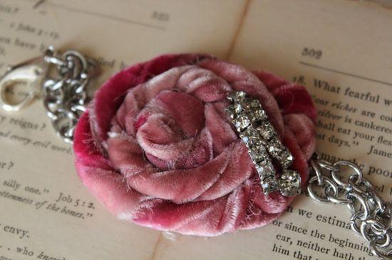 Hand Dyed Velvet Rosette Bracelet by Rebeccavintageliving on Etsy