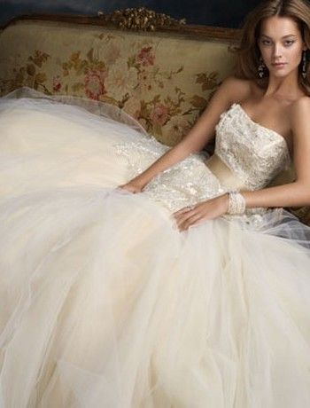 Lazaro - Strapless Ball Gown in Chantilly Lace