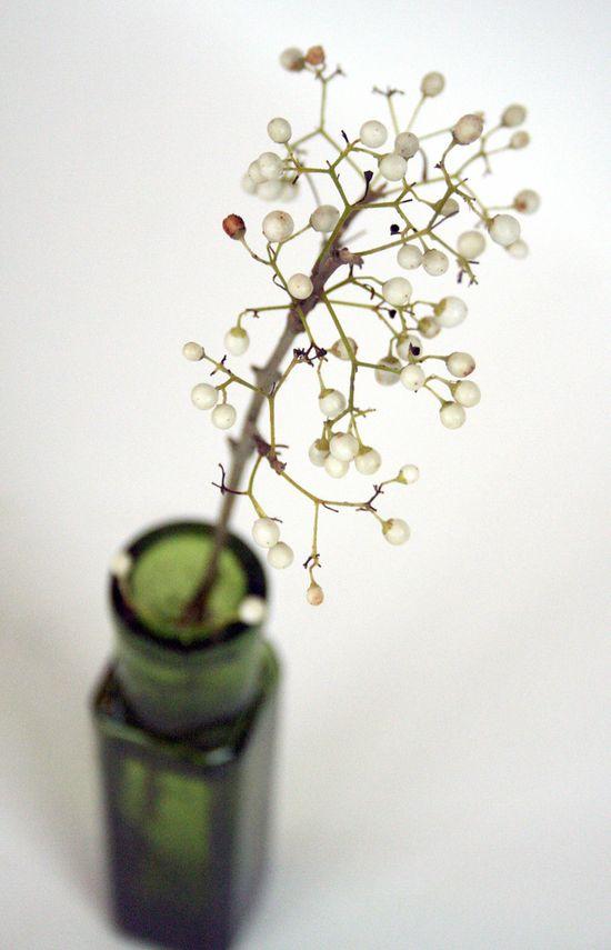 little flower arrangement in a vintage bottle