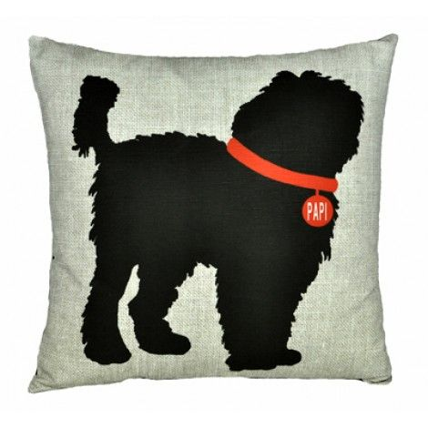 CUSTOM PET PILLOWS    With Personalized Collar    Custom Pet Pillows!  Choose your breed, color choice and specify your pet's name for the collar.  Ask if you do not see your breed. Custom pillow lead time is approximately 4 weeks.    The pillows are eco-friendly natural linen and cotton and measure 20×20 inches. (Pillow shown here is a black labradoodle on the linen background)    Price:  $129.00