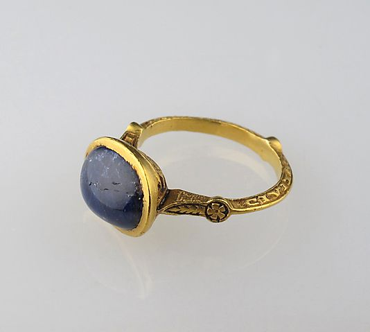 Finger Ring  Date: 14th century Culture: English Medium: Gold and sapphire