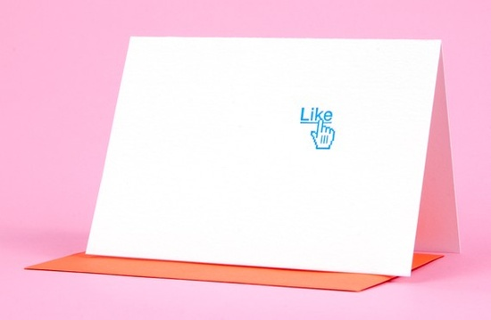 """""""Like"""" Letterpress printed card by Bread + Butter. Designed by Kelly Blair"""