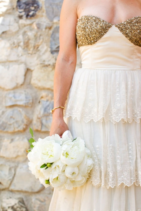 Golden wedding dress.