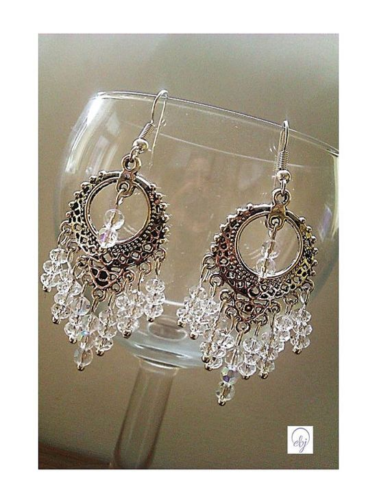 White Crystal Bead Chandelier Earrings created by a British (UK) Jewellery Designer - £35.00