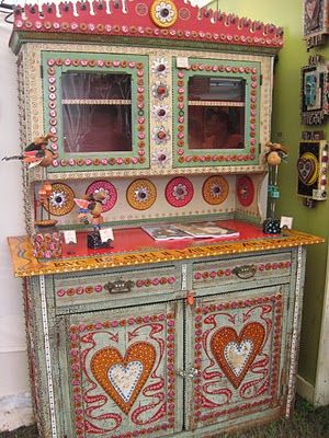 Brightly painted cabinet.