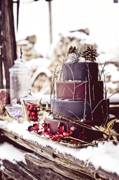 Winter #weddings #cakes {Rachel A. Clingen Wedding And Event Design}