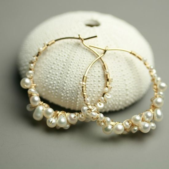 Pearl Hoops Wire Wrapped Hoops. $96.00, via Etsy.
