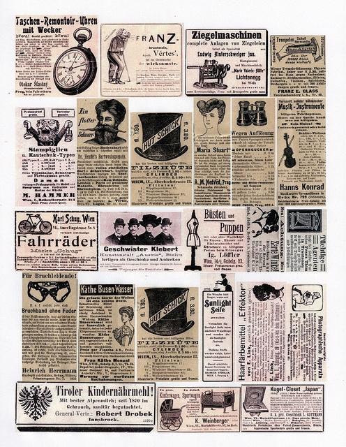 german newspaper ephemera collage sheet