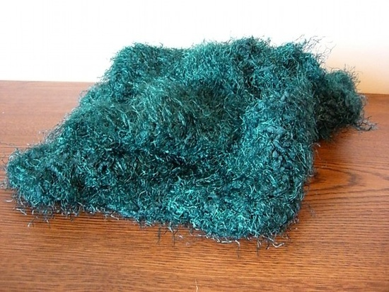 Furry Teal Green Crochet Scarf