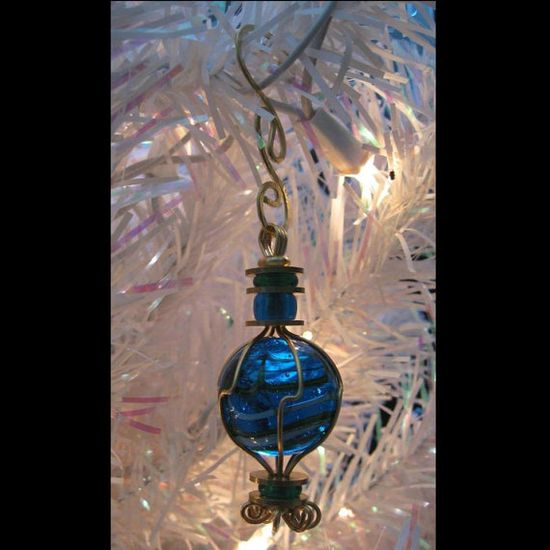 Wire Wrapped Handmade Marble Holiday Ornament by TeagardenArts, $10.50
