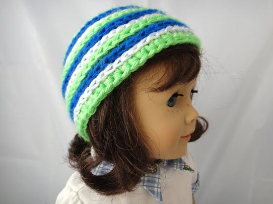 American Girl Beanie Hat Blue Green by PreciousBowtique on Etsy, $3.00