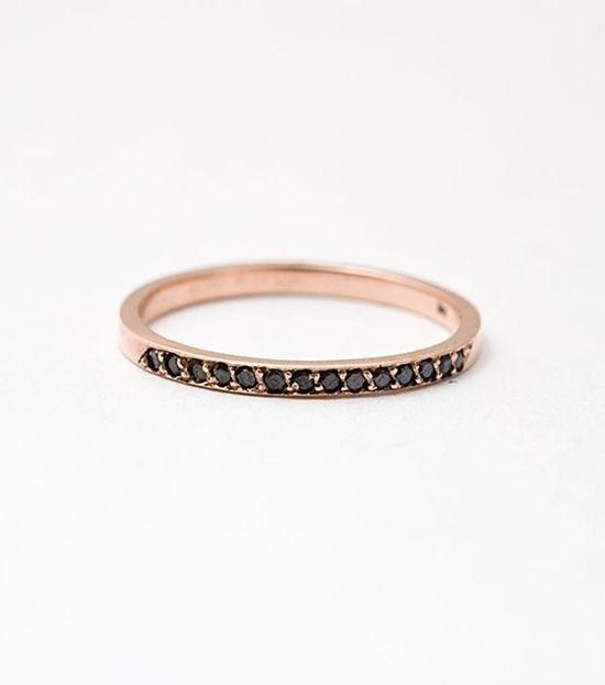 black diamonds and rose gold! Love this combo about the same as if it had peach sapphires!!!!