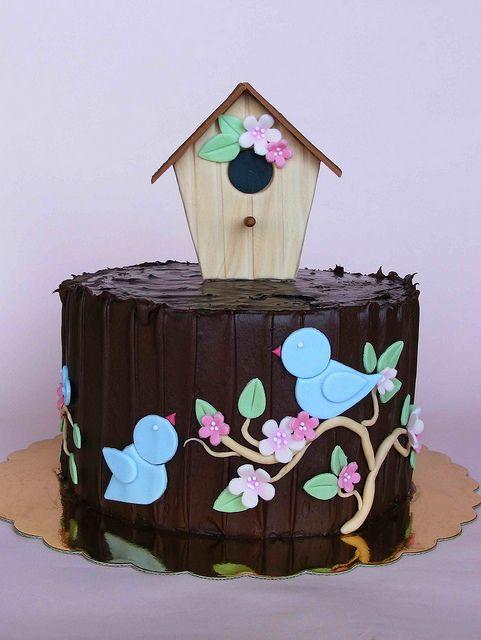 Chocolate birdie cake by bubolinkata, via Flickr
