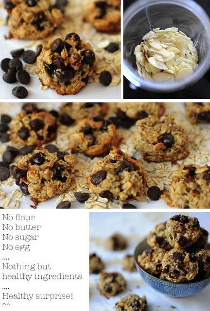 Healthy cookies: {no flour, butter, sugar, or eggs}