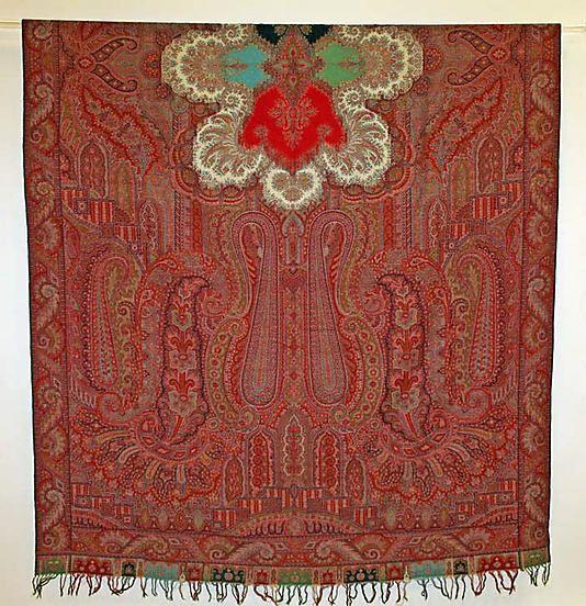 Shawl  Date: 1850–55   Culture: European   Medium: silk, wool  Dimensions:Overall: 63 x 130in. (160 x 330.2cm)