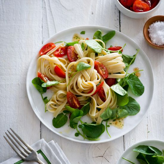 Fettuccine with Cherry Tomatoes and Watercress // More Fast Pasta Recipes: www.foodandwine.c... #foodandwine