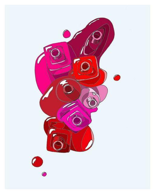 Kristina Hultkrantz, fashion illustration, illustration, etsy, nail, nail polish, red, pink