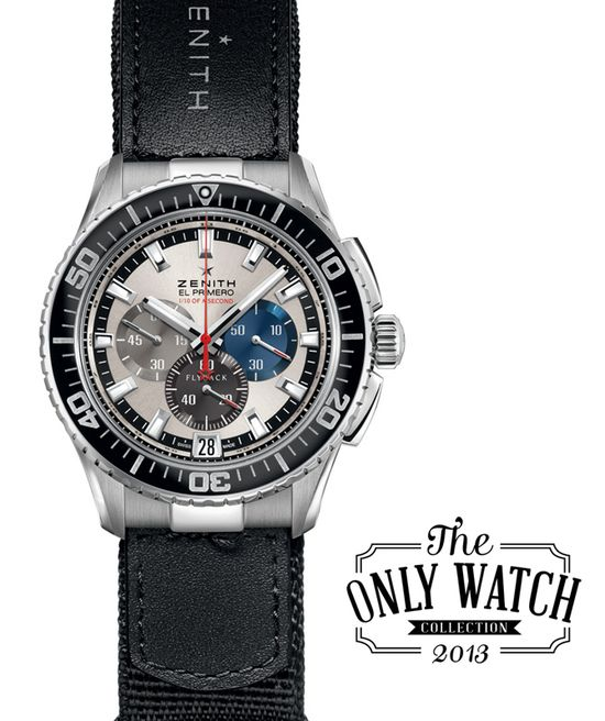 Zenith's contribution to Only Watch this year is the sole prototype used to develop and test the El Primero Stratos, created for skydiver Felix Baumgartner's record-breaking jump on October 14, 2012, that became the first-ever supersonic wristwatch.