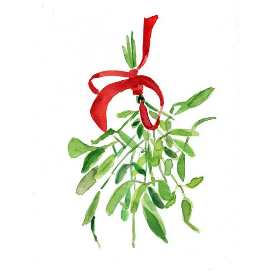 Mistletoe Christmas bouquet with Red ribbon. Holiday Christmas wall decor