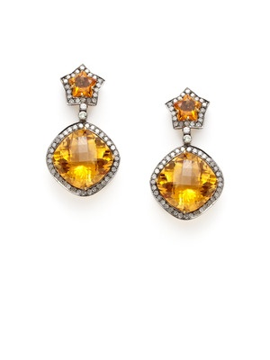 Blake Scott Orange Citrine Star & Cushion Drop Earrings