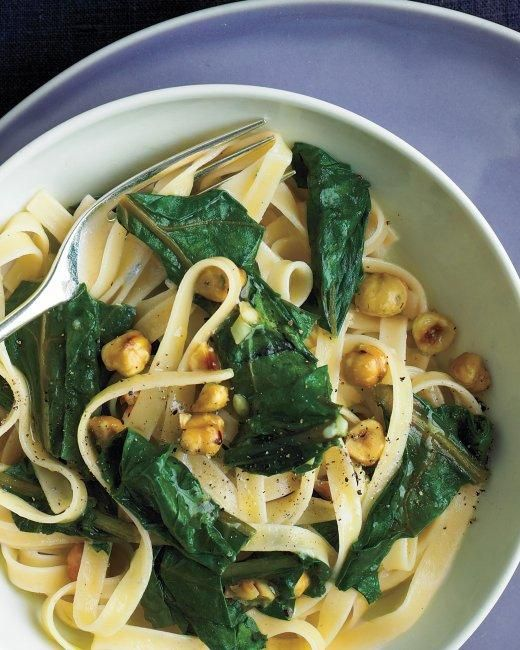 Under 30 Minutes-- Pasta with Beet Greens, Blue Cheese, and Hazelnuts Recipe