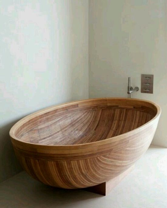 Gorgeous hand made wooden tub.