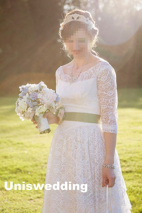 Half sleeves 3/4 sleeves lace outdoor wedding dress by Uniswedding, $248.00