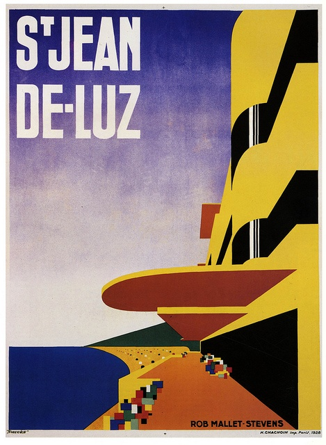 St. Jean De Luz travel poster, 1928, art by Robert Mallet Stevens. #vintage #1920s #travel #posters