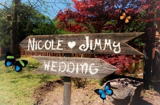 They custom make wooden wedding signs and ship them out - from US$50