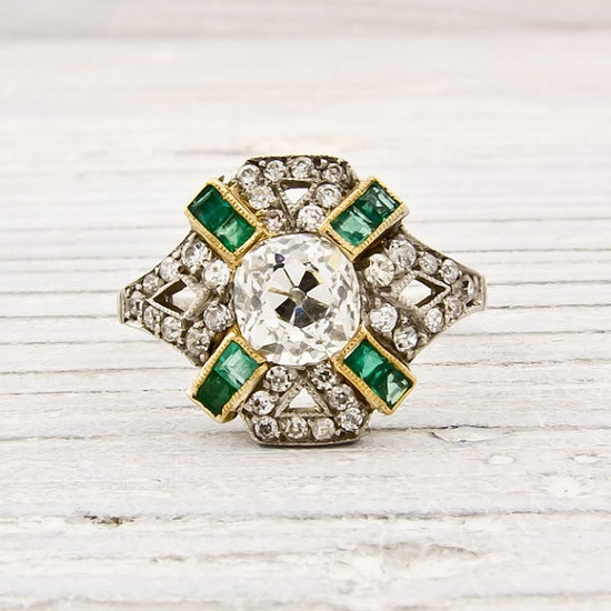 Platinum diamonds and emeralds circa 1910