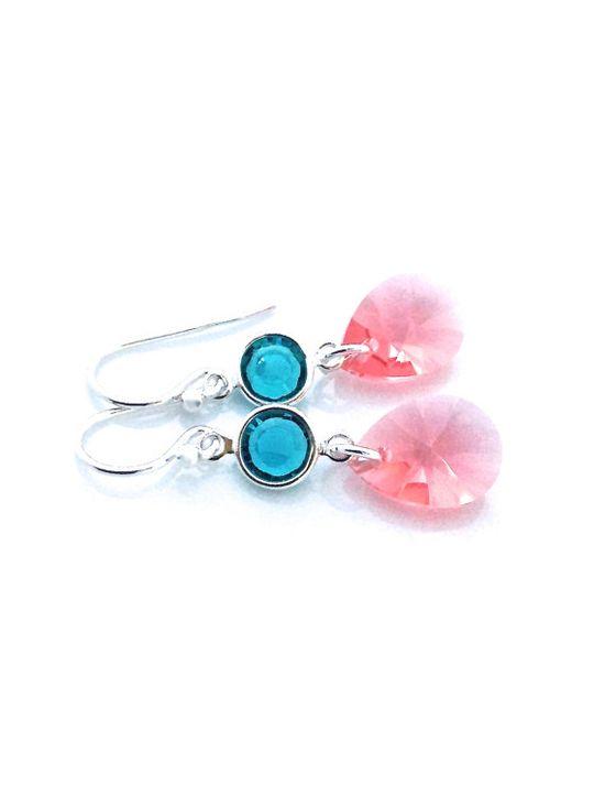 Blue zircon and peach Swarovski pendant earrings #zircon #peach #earrings by #UrbanClink, $23.50