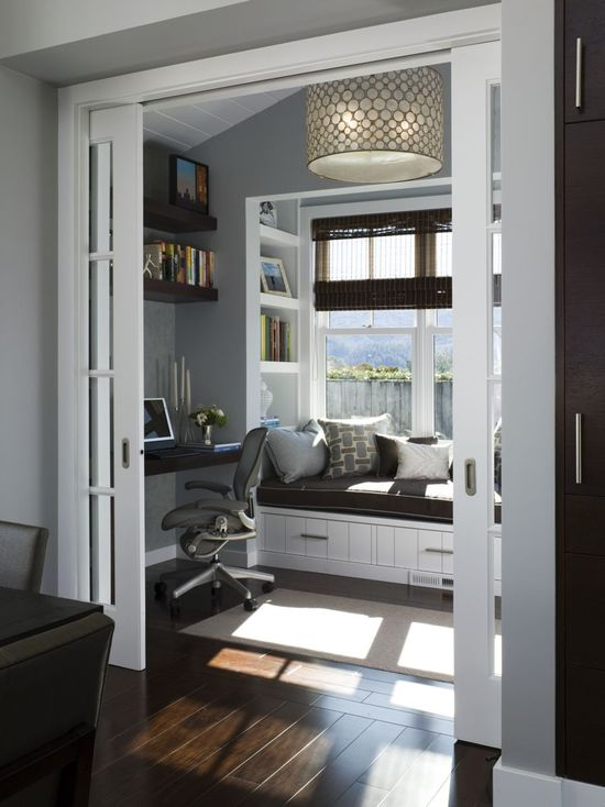 Love this office: french doors, gray walls, white trim, and wood floors