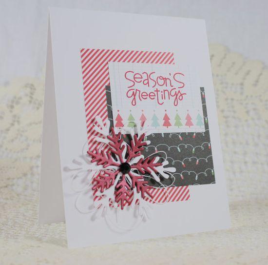Handmade Holiday  Christmas Greeting Card - Paper Smooches greeting.