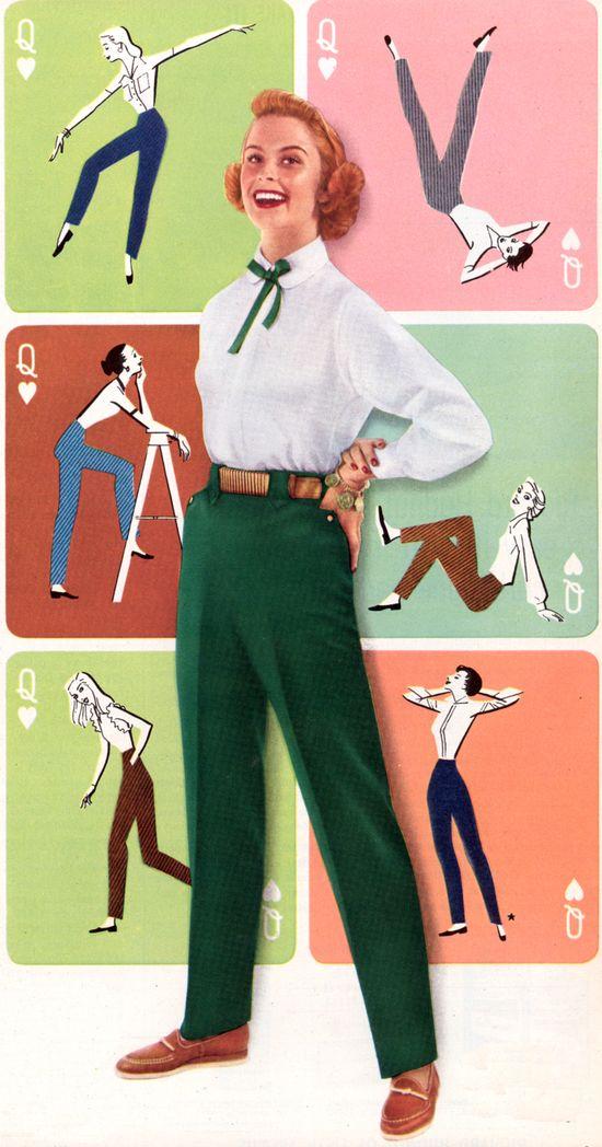 1950s coloured trousers, Levis ad. #vintage #1950s #pants #jeans #fashion
