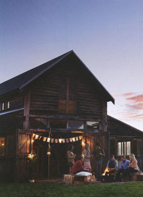 an outdoor barn party