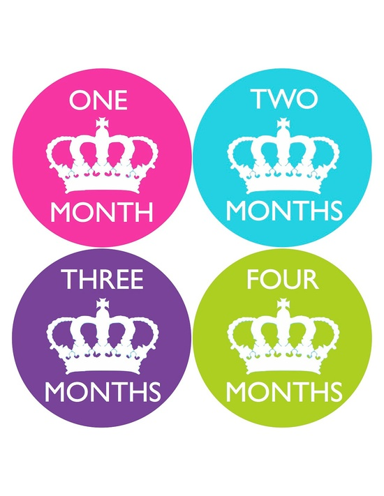 Monthly Onesie Stickers for New Mom and Baby Girl...Bright Crown...Princess....Keep Calm Style...Favorite Baby Shower Gift. $9.00, via Etsy.