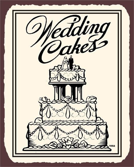 Wedding Cakes Baked Goods Bakery Vintage Metal Art Wall Decor Retro Tin Sign