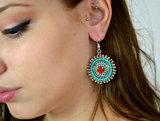 Turquoise Red EARRINGS. Silver beaded earrings. by SigalsDesigns