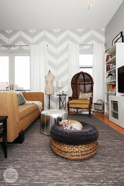 I love this gray and white chevron accent wall and the dog isn't so bad either ;)