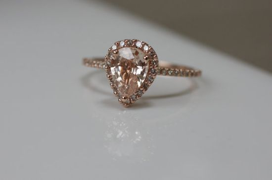 oh my. i'm in love. - peach champagne tear drop sapphire and rose gold diamond ring via etsy