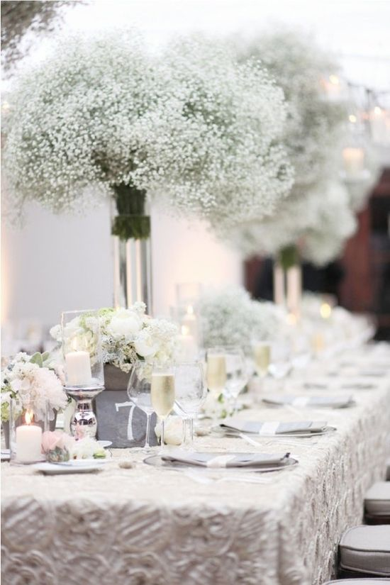 Such an ethereal wedding reception table. Beautiful Baby's Breath Centrepiece Flowers